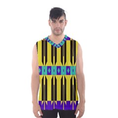 Rhombus And Other Shapes Pattern Men s Basketball Tank Top