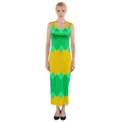 Green Rhombus Chains Fitted Maxi Dress