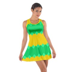 Green rhombus chains Cotton Racerback Dress