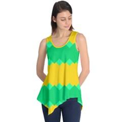 Green rhombus chains Sleeveless Tunic