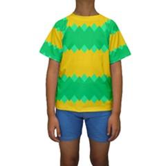 Green Rhombus Chains  Kid s Short Sleeve Swimwear