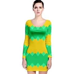 Green Rhombus Chains Long Sleeve Velvet Bodycon Dress