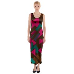 Brown pink blue shapes Fitted Maxi Dress