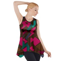 Brown Pink Blue Shapes Side Drop Tank Tunic