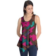 Brown pink blue shapes Sleeveless Tunic