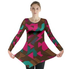 Brown Pink Blue Shapes Long Sleeve Tunic