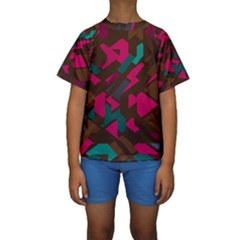 Brown pink blue shapes  Kid s Short Sleeve Swimwear