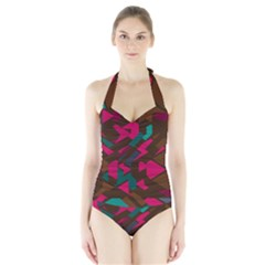 Brown pink blue shapes Women s Halter One Piece Swimsuit