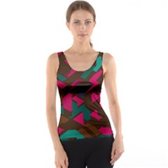 Brown Pink Blue Shapes Tank Top