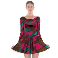 Brown Pink Blue Shapes Long Sleeve Skater Dress