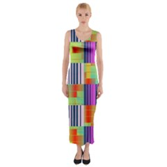 Vertical And Horizontal Stripes Fitted Maxi Dress