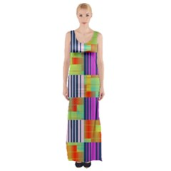Vertical and horizontal stripes Maxi Thigh Split Dress