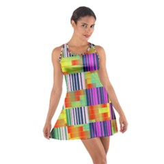 Vertical and horizontal stripes Cotton Racerback Dress