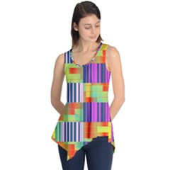 Vertical and horizontal stripes Sleeveless Tunic