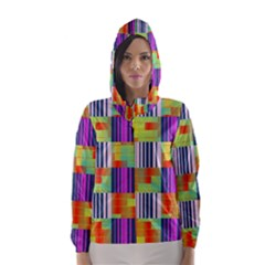 Vertical and horizontal stripes Hooded Wind Breaker (Women)