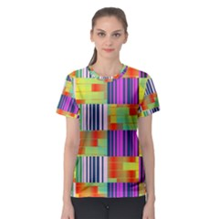 Vertical And Horizontal Stripes Women s Sport Mesh Tee
