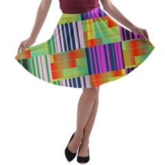 Vertical and horizontal stripes A-line Skater Skirt