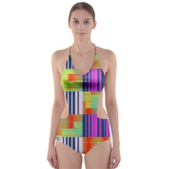 Vertical and horizontal stripes Cut-Out One Piece Swimsuit
