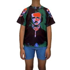 Edgar Allan Poe Pop Art  Kid s Short Sleeve Swimwear