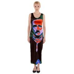 Edgar Allan Poe Pop Art  Fitted Maxi Dress