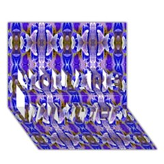 Blue White Abstract Flower Pattern You Are Invited 3d Greeting Card (7x5)