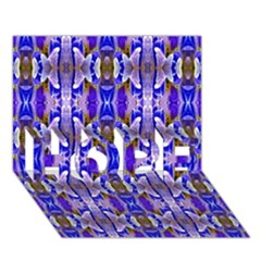 Blue White Abstract Flower Pattern Hope 3d Greeting Card (7x5)