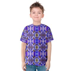 Blue White Abstract Flower Pattern Kid s Cotton Tee