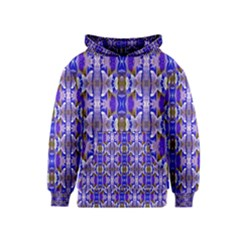 Blue White Abstract Flower Pattern Kids  Pullover Hoodie