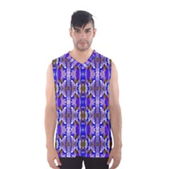 Blue White Abstract Flower Pattern Men s Basketball Tank Top