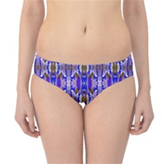 Blue White Abstract Flower Pattern Hipster Bikini Bottoms
