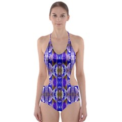 Blue White Abstract Flower Pattern Cut-Out One Piece Swimsuit