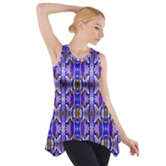 Blue White Abstract Flower Pattern Side Drop Tank Tunic