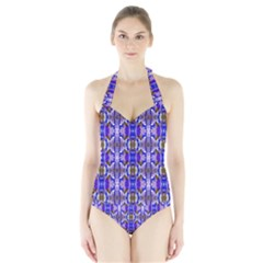 Blue White Abstract Flower Pattern Women s Halter One Piece Swimsuit