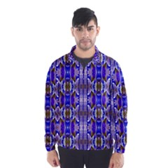 Blue White Abstract Flower Pattern Wind Breaker (men)