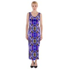 Blue White Abstract Flower Pattern Fitted Maxi Dress