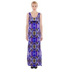 Blue White Abstract Flower Pattern Maxi Thigh Split Dress