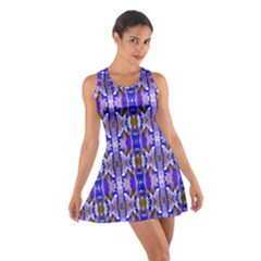 Blue White Abstract Flower Pattern Racerback Dresses