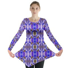 Blue White Abstract Flower Pattern Long Sleeve Tunic
