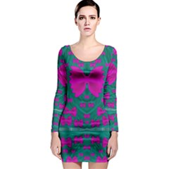 World Wide Flying Butterflies Long Sleeve Bodycon Dress