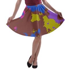 Retro Texturea Line Skater Skirt