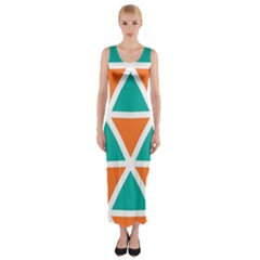 Orange green triangles pattern Fitted Maxi Dress