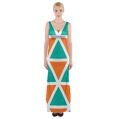 Orange Green Triangles Pattern Maxi Thigh Split Dress