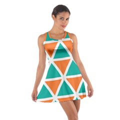 Orange green triangles pattern Cotton Racerback Dress