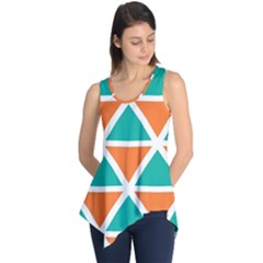 Orange green triangles pattern Sleeveless Tunic