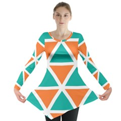 Orange green triangles pattern Long Sleeve Tunic