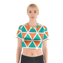 Orange Green Triangles Pattern Cotton Crop Top
