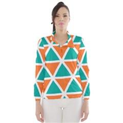 Orange green triangles pattern Wind Breaker (Women)