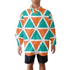Orange Green Triangles Pattern Wind Breaker (kids)