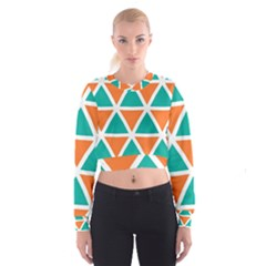 Orange green triangles pattern   Women s Cropped Sweatshirt