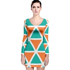 Orange green triangles pattern Long Sleeve Velvet Bodycon Dress